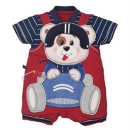 Macacão Infantil Masculino Urso Piloto Lucas - Upi Uli