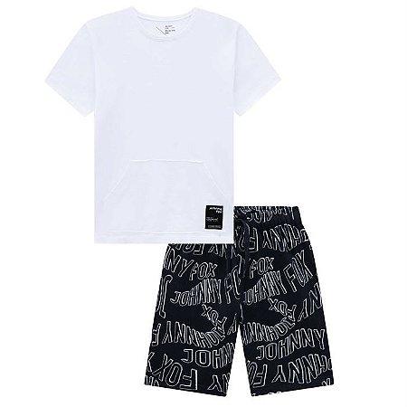 Conjunto Infantil Masculino Camiseta com Bolso e Bermuda  - Johnny Fox