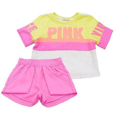 Conjunto Infantil Feminino Neon Pink - Mon Sucré