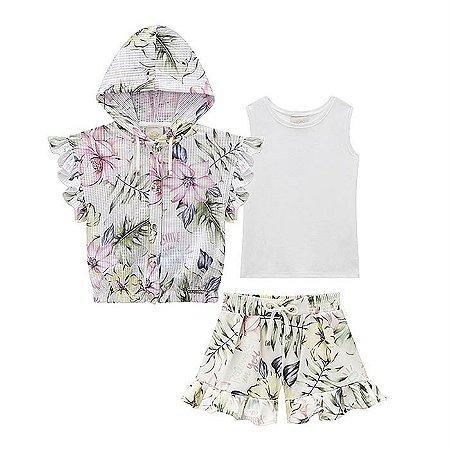 Conjunto Infantil Feminino Trio Floral - Kiki Xodó