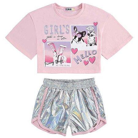 Conjunto Infantil Feminino Blusa com Shorts Girls - Kukiê