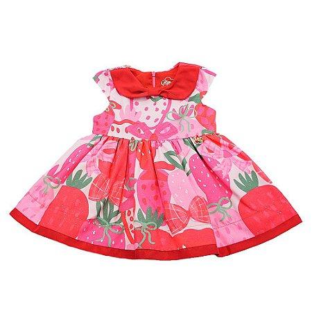 Vestido Infantil Feminino Morangos - Mon Sucré