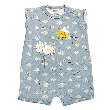 Macacão Infantil Feminino Curto Margaridas - Tilly Baby