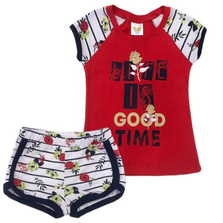 Pijama Malha Life Is Good - Have Fun