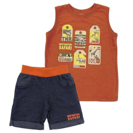 Conjunto Camiseta Safari e Bermuda Moletom - Have Fun
