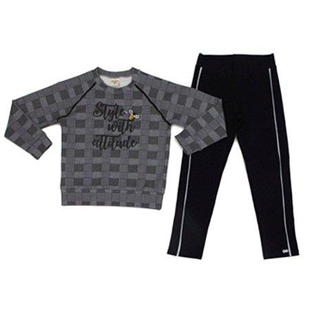 Conjunto Infantil Feminino Blusa Xadrez e Legging Style With Attitude - Have Fun