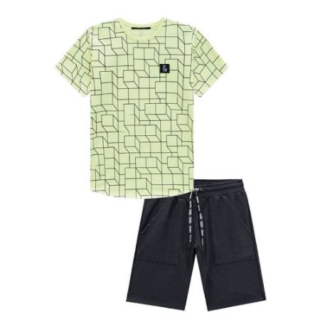 Conjunto Camiseta Neon e Bermuda Malha Jeans - Johnny Fox
