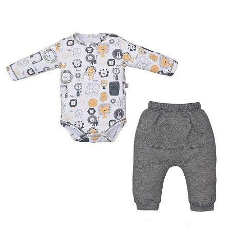 Conjunto Infantil Masculino Body Leão e Calça Saruel - Upi Uli