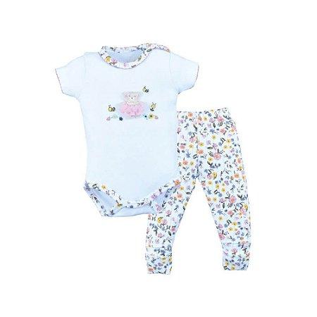 Conjunto Infantil Feminino Body e Calça Ursinho - Upi Uli