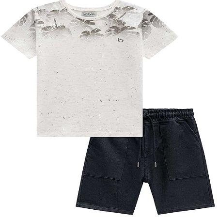 Conjunto Camiseta Folhagem e Bermuda Moletinho - Luc.Boo