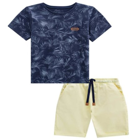 Conjunto Camiseta Folhas e Bermuda Estonada - Luc.Boo