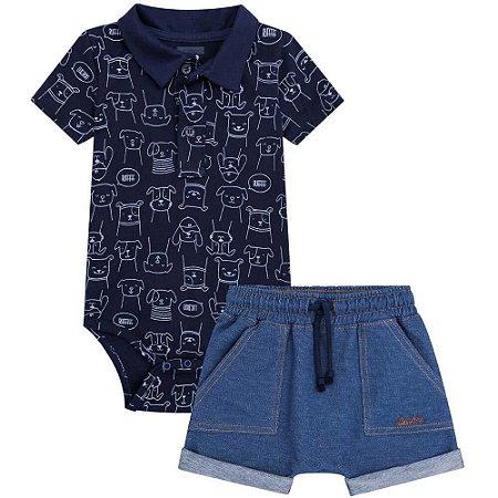 Conjunto Body e  Bermuda Jeans - Luc.Boo