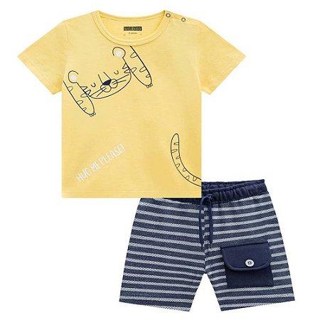 Conjunto Camiseta e Bermuda Listras - Luc.Boo