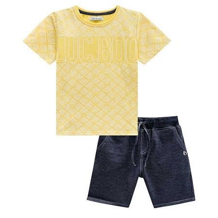 Conjunto Camiseta e Bermuda Moletinho Jeans - Luc.Boo