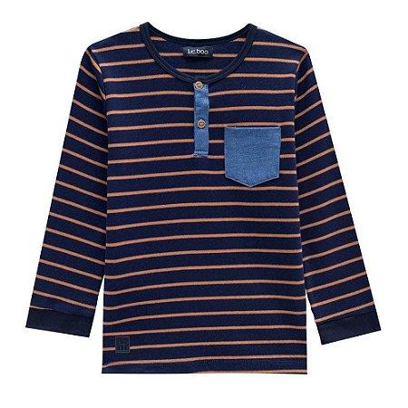 Camiseta Infantil Masculina Listrada com Botão - Luc.Boo