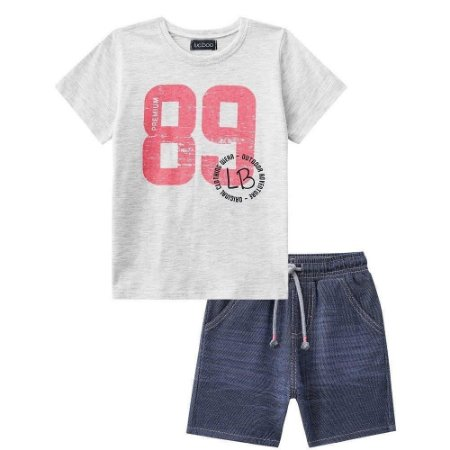 Conjunto Infantil Camiseta Mescla 89 Bermuda Moletinho Jeans - Luc.Boo