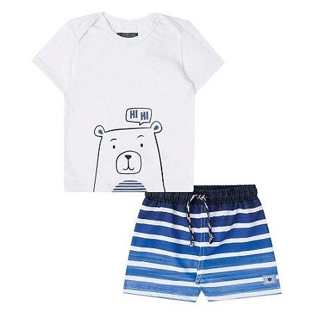 Conjunto Infantil Camiseta Branca  Bermuda Microfibra Azul Listrada - Luc.Boo