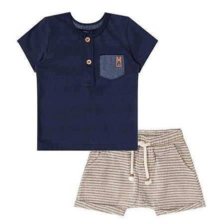 Conjunto Infantil Camiseta Marinho  Bermuda Bege Listrada - Luc.Boo