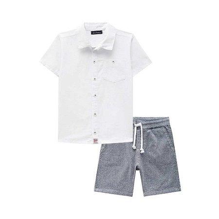 Conjunto Infantil Camisa Branca Bermuda Sarja Cinza - Luc.Boo