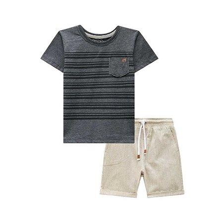 Conjunto Infantil Camiseta Preta Listras Bermuda Bege - Luc.Boo