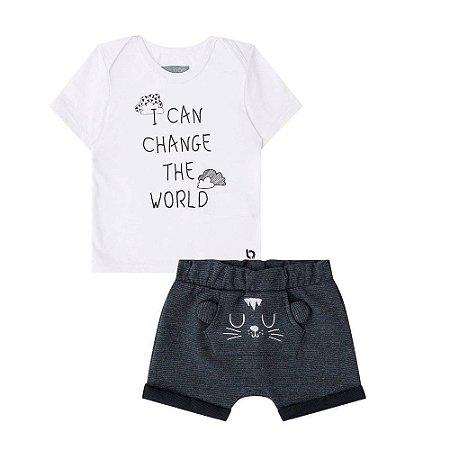 Conjunto Infantil Camiseta Branca Bermuda Saruel Gatinho - Luc.Boo