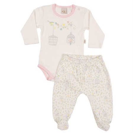 Conjunto Longo Suedine Body e Culote Passarinhos - Anjos Baby