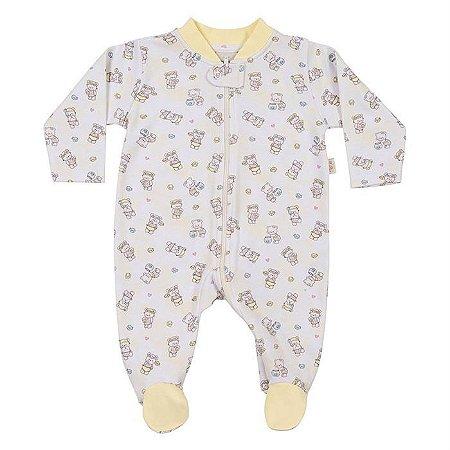 Macacão Longo Suedine Ziper Ursinhas - Anjos Baby