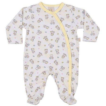 Macacão Longo Abertura Lateral Ursinhas - Anjos Baby