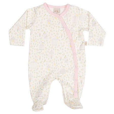 Macacão Longo Suedine Abertura Lateral Passarinhos - Anjos Baby