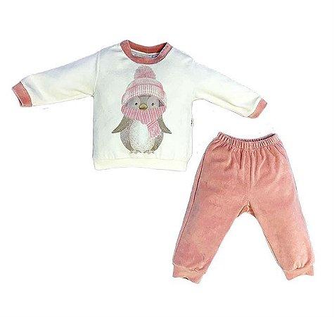 Conjunto Infantil Longo Plush Pinguim Cachecol Rose - Anjos Baby