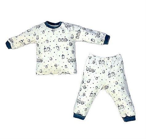 Conjunto Infantil Longo Plush Pinguim Marinho - Anjos Baby