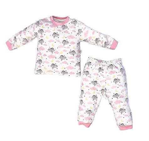 Conjunto Infantil Longo Plush Ursinha Rosa - Anjos Baby