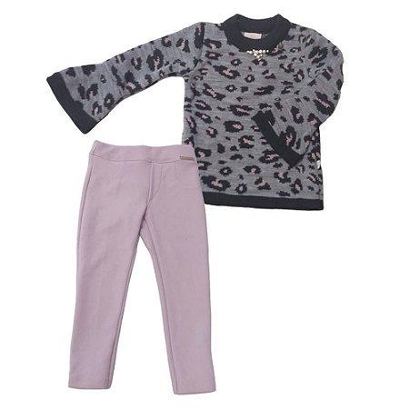 Conjunto Feminino Infantil Blusa Tricot Onça e Calça Rosa  - Kiki Xodó