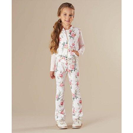 Conjunto Feminino Infantil Blusa Colete e Calça Estampa Flores - Kiki Xodó
