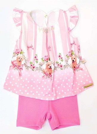 Conjunto Infantil Feminino Bata Cachorrinhos e Shorts Pink - Kiki Xodó