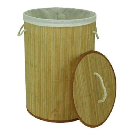 Cesto bambu redondo Forrado Roupas Sujas Banheiro Lavanderia com  alças