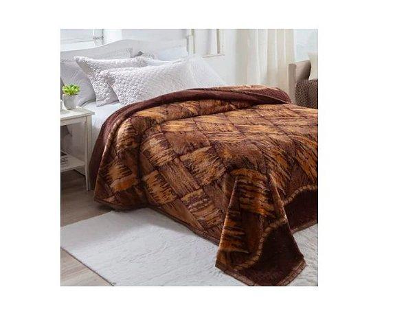Cobertor Jolitex Dyuri Pelo alto quente Casal Macio Madeira