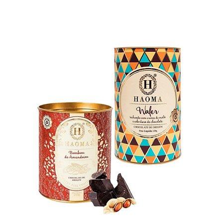Haoma Bombom Chocolate Belga Wafer e Amendoim 2 Latas Kit