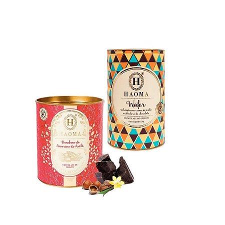 Haoma Bombom Chocolate Belga Wafer e Amorilo2 Latas Kit