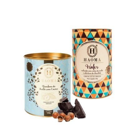 Haoma Bombom Chocolate Belga Wafer e Avelã 2 Latas Kit