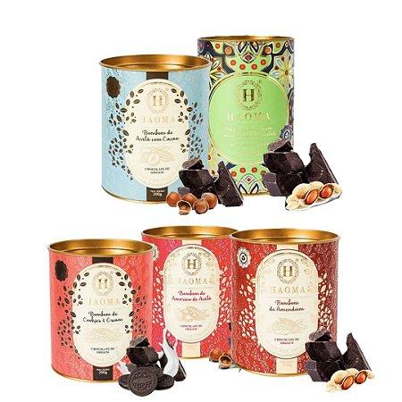 Haoma Bombom Chocolate Belga Kit Completo 5 Latas 0 açucar