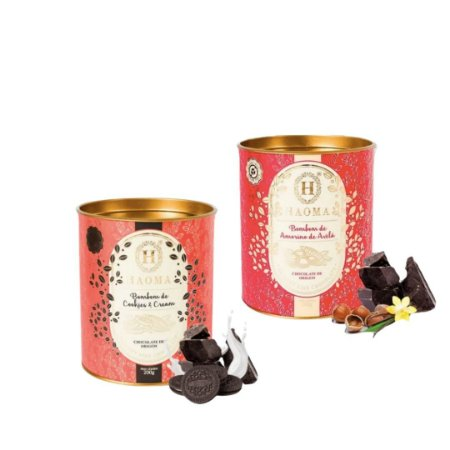 Haoma Bombom Chocolate Belga Amorilo e Cookies 2 Latas Kit
