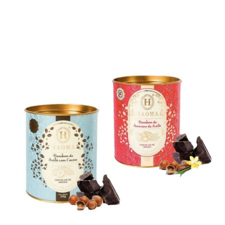 Haoma Bombom Chocolate Belga Amorilo e Avelã 2 Latas Kit