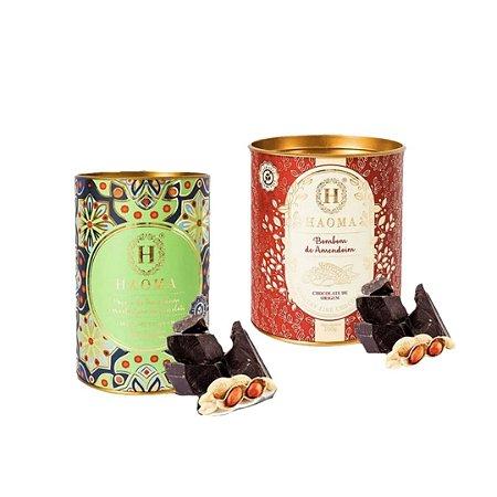 Haoma Bombom Chocolate Belga Paçoca e Amendoim 2 Latas Kit