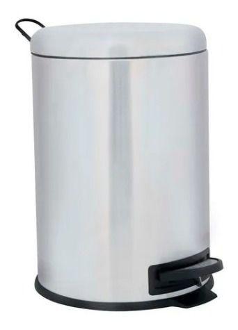 Lixeira Aço Inox Escovado Com Pedal Balde Interno 5 Litros