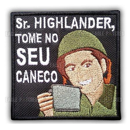 PATCH BORDADO COM VELCRO SR. HIGHLANDER