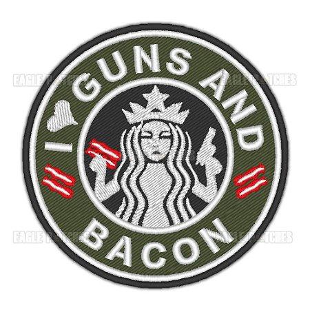 PATCH BORDADO COM VELCRO GUNS AND BACON