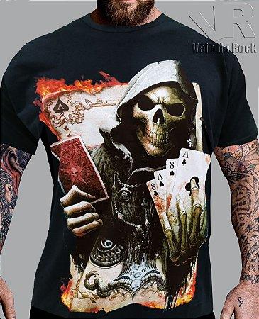 Camiseta Caveira Baralho Preta