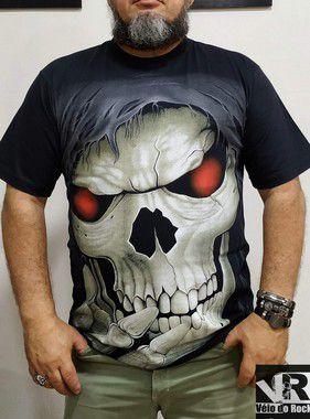 Camiseta Caveira Olho Vermelho Preta