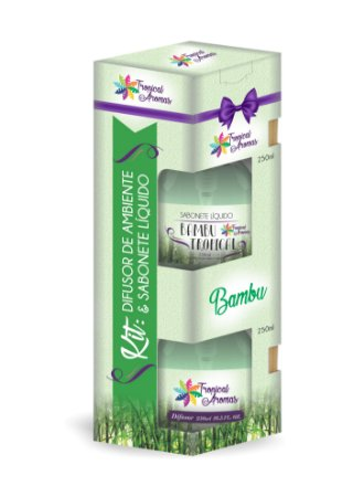 Kit difusor e sabonete líquido com Válvula Bambu 250ml - Tropical Aromas